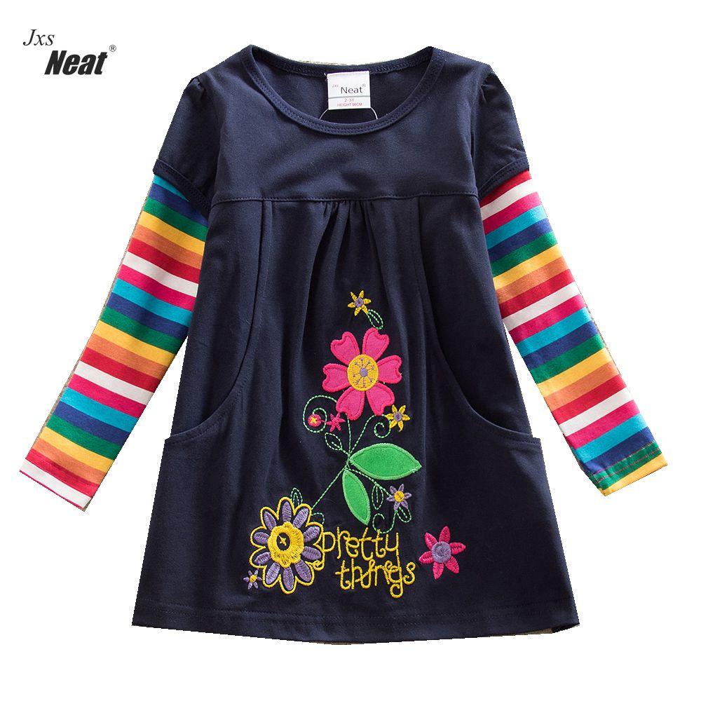 लड़कियों लंबी आस्तीन कपास पोशाक फूल इंद्रधनुष लंबी आस्तीन बनियान बच्चों 100% कपास राजकुमारी पार्टी पोशाक H5802