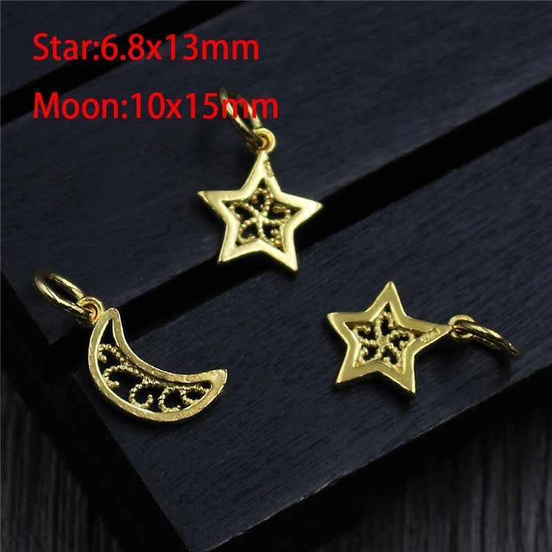 100% 925 Sterling Silver Moon/Star หัตถกรรม Hollow Dangle Charms เงินทองจี้ต่างหูอุปกรณ์เสริมเครื่องประดับ DIY ผู้หญิงทำ