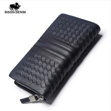 BISON DENIM Handmade Men Clutch Bags Zipper Square Diagonal Stripes Cowskin Genuine Leather Wallet Cards For Business man