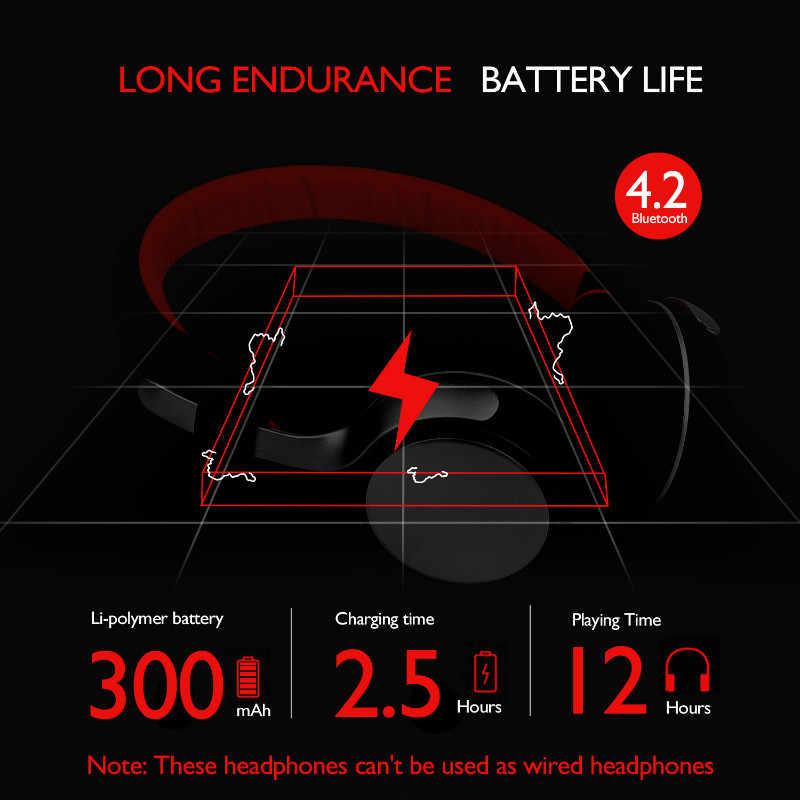 OneOdio 300 мАч Bluetooth беспроводные наушники V4.2 Складная спортивная бас гарнитура с светодиодный микрофон с подсветкой для Iphone huawei и т. д.