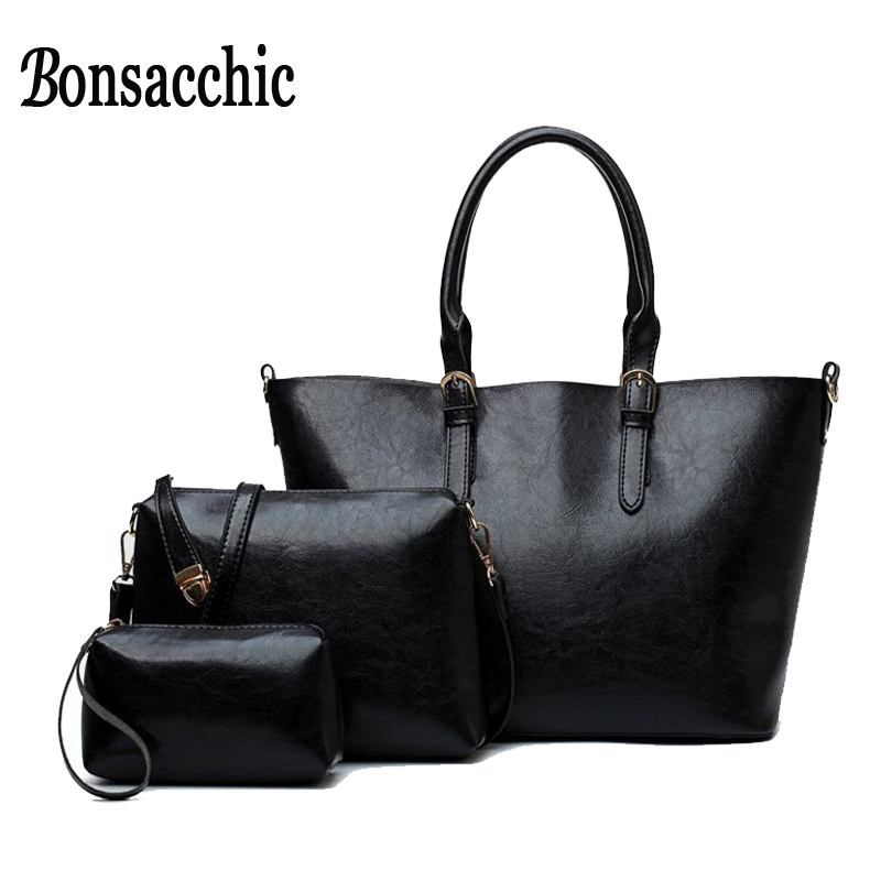 Bonsacchic 3pcs Womens Black Handbags Big Ladies Hand Bags Set of Women s Bags Handbags Female Purses and Handbags Bolsas