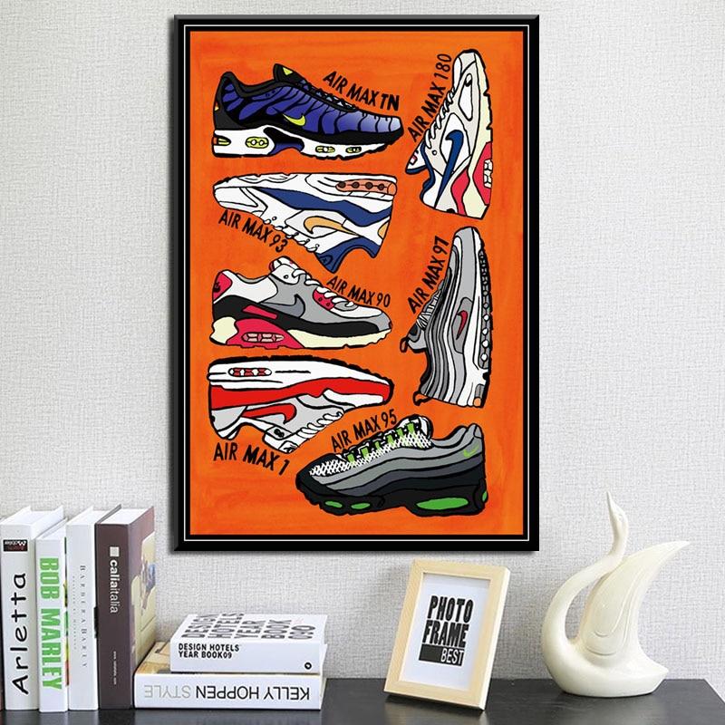 P067 Sneaker Fashion Shoes AJ History Air Max Art Painting Silk ...