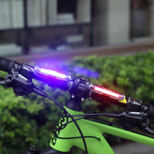 Portable 120LM USB Rechargeable COB LED Bicycle Tail Light Red Blue MTB Safety Warning Bicycle Rear Taillight Lamp Super Bright(China)