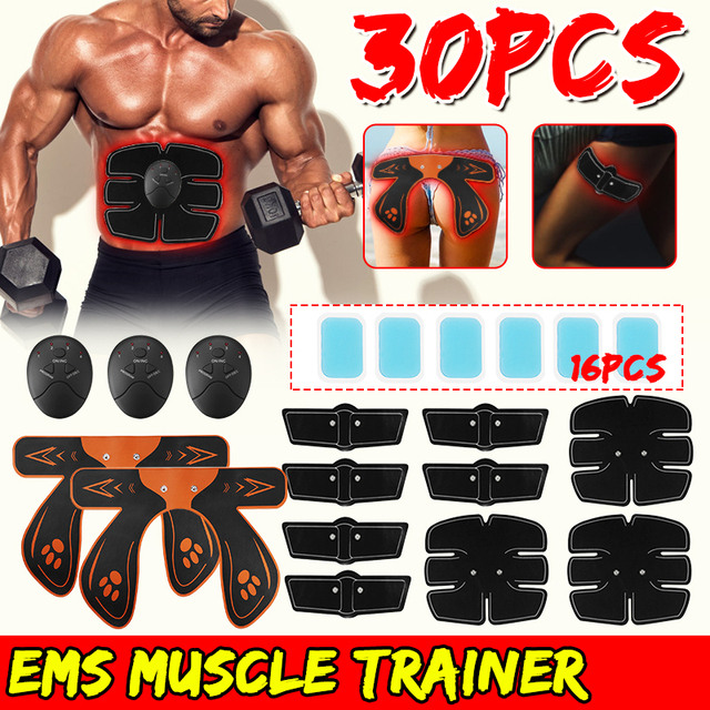 30PCS/Set EMS Smart Trainer Upgrade Bodybuilding Trainer Wireless Muscle ABS Arm Hip Massage Stimulator Replacement Gel Kit