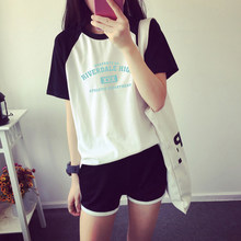 Riverdale two piece set Women Riverdale t shirt New design Oversize Navel short sleeve and KPOP Short Pants O-neck Summer Set(China)