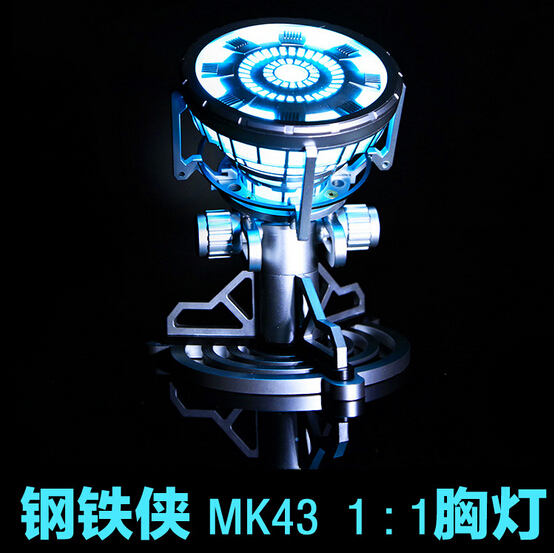 NEW hot 16cm MK43 1:1 Scale The Avengers Juguetes Anime Iron Man 3 Arc Reactor LED Light action figure collection toys