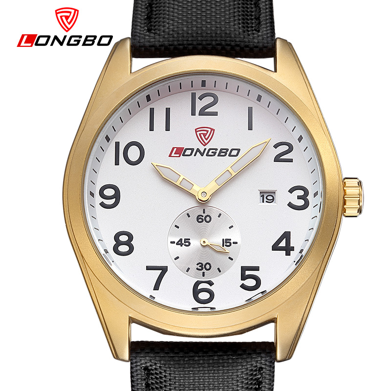 2016 Hot Seller LONGBO Brand Fashion Military Leather Quartz Watches Date Calendar Wristwatches Mens Watches 80214