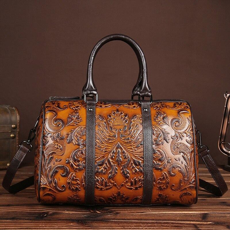 Vintage Genuine Leather Women Handbags Shoulder Bags Floral Zipper Cow Leather Versatile Leisure Open Pocket
