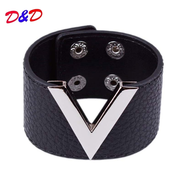 White Color V Shape Stylish Charm Wrap Leather Cuff Bracelets 90s For Wedding/Engagement Fashion Symbol Wristband Femme Jewelry