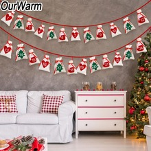OurWarm Christmas Advent Calendar Garland Felt Tree 24/31 Numbers Gift Bags Banner Party Decoration