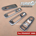 4PCS Car Styling Chrome ABS Door Armrest Window Switch Cover Sticker for PEUGEOT 308 2015 2016 Exterior Decoration