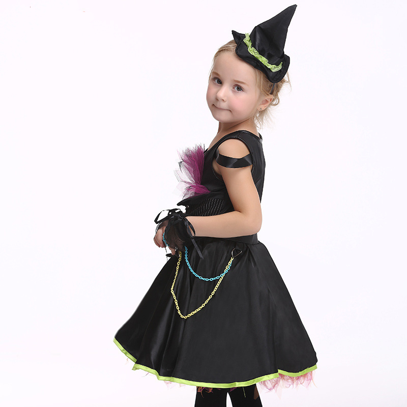 2017 Girls Kids Halloween Carnival Dress Black Cosplay Witch Costume Princess Dance Performance Dress Paired Hat and Gloves halloween skeleton style cosplay costume face mask gloves set black white