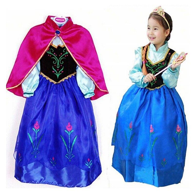 2016 New Kids Anna Elsa Traje de Vestido de Princesa De Las Muchachas Vestidos de Fiesta de Disfraces Para Niños Cuentos de Hadas Princesa Elsa Dress