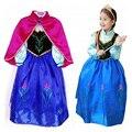 2016 Nova Crianças Anna Elsa Traje Vestido Para As Meninas Vestidos de Princesa Crianças Festa a Fantasia de Contos De Fadas Da Princesa Elsa Vestido Cosplay
