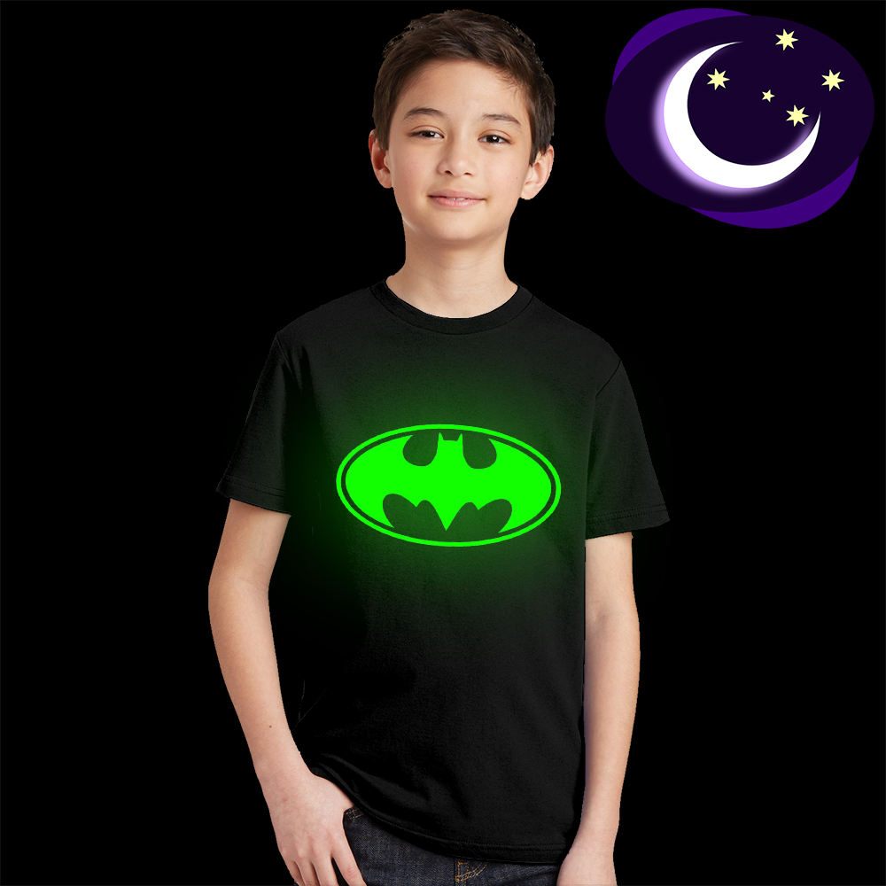 Luminous Batman Logo Kids T Shirt Fluorescent Superhero Symble Boys Girls Top Tee Super Hero Children T-shirt Cool Comic 49A5BK luminous black panther kids t shirt glow in dark teens boys summer t shirt fluorescent girls cool super hero tshirt baby clothes
