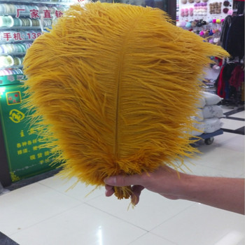Hot! 100PCS high quality 30-35cm/12-14 inches golden ostrich feather Plume wedding decoration craft /DIY accessories