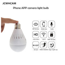JCWHCAM 960P HD IP Camera 360 Degree Fisheye Bulb light WIFI Camera For Mobile Phone Remote Monitor Wireless Mini Camera