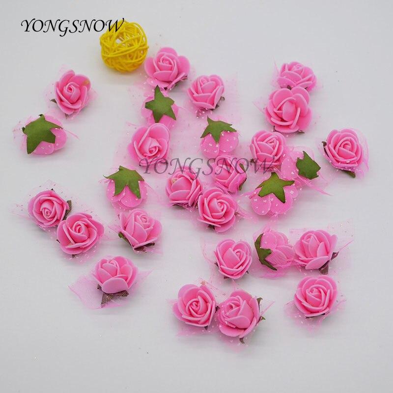 100 unids/lote 2.5 cm Multicolor Mini Flores Artificiales PE Espuma Cabeza de Ro