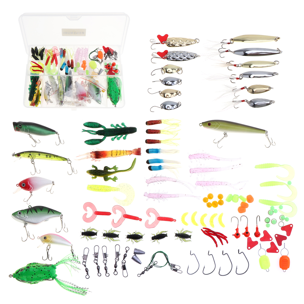 106pcs Multi Fishing Lure Mixed Colors Plastic Metal Bait Hard Soft Lure Kit Artificias Minnow Crank Popper Wobbler Frog and Box 30pcs set fishing lure kit hard spoon metal frog minnow jig head fishing artificial baits tackle accessories