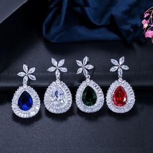 Image 3 - CWWZircons ensemble de boucles doreilles et collier de mariée de haute qualité, couleur or blanc en zircone cubique pavée, grande goutte deau, T274