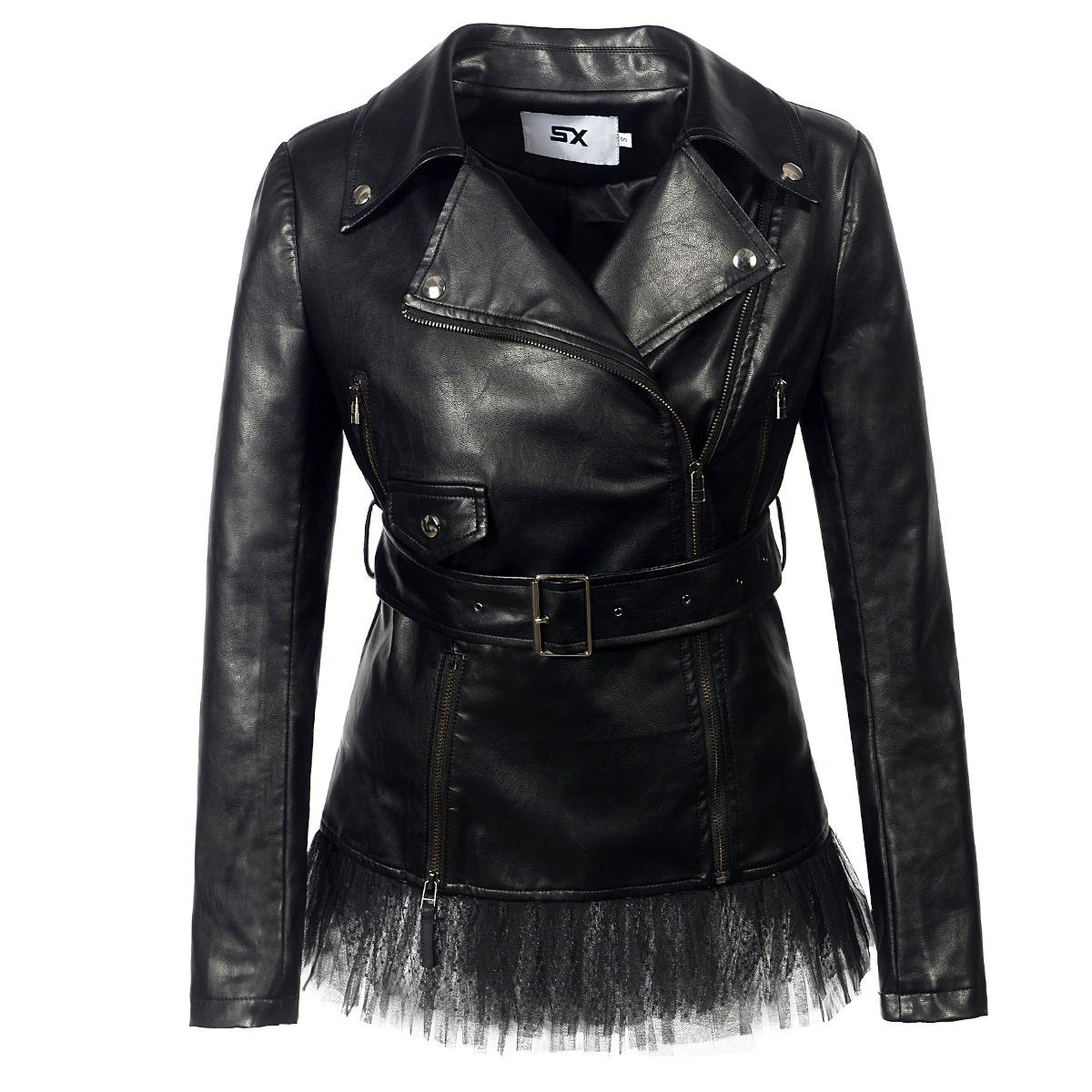 Lace faux   leather   PU Jacket Women fashion rose Winter AutumnMotorcycle Jacket Black faux   leather   Coat Outerwear Gothic
