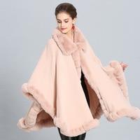 Fashion Luxury Handwork Rex Rabbit Fur Coat Cape Big Long Cashmere Shawl Full Trim Faux Fur Cloak Lapel Overcoat Women Winter