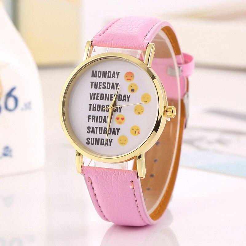 Lovely Week Expression Dial Student Boy Girl Armbandsur PU Läder Quartz Ladies Watch Klocka Timepiece Relogios Timer