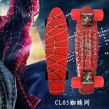 Mini patín de plástico con diseño gráfico de Spider Man de 22 cm, patín de plástico para niños, patín Retro de patineta de plátano completo