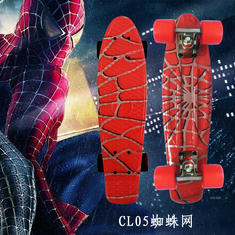 Spider Man Graphic Colorful 22 Mini Skate Penny Board Kids Plastic Fishboard Cruiser Completed  Retro Banana Skateboard Patins