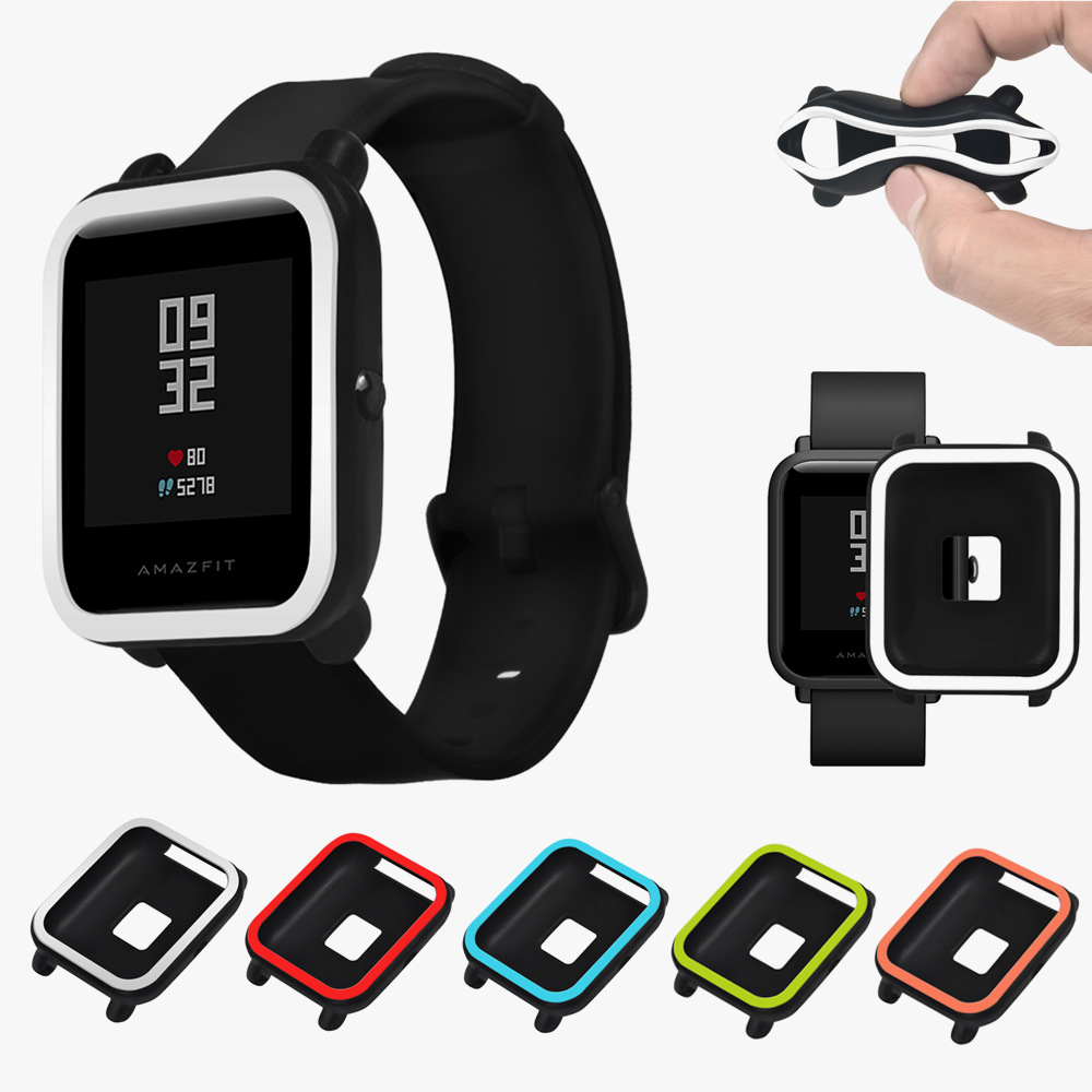 Soft TPU Protection Frame PC Silicone Full Case Cover For Xiaomi Huami Amazfit Bip BIT Pace Lite Youth Smart Watch Protect Shell