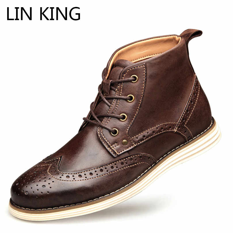 c75c72d5098 LIN KING Fashion Genuine Cow Leather Men Short Boots Spring Autumn Lace Up  Brogue Ankle Boots Men's Martin Boots Plus Size 41-50