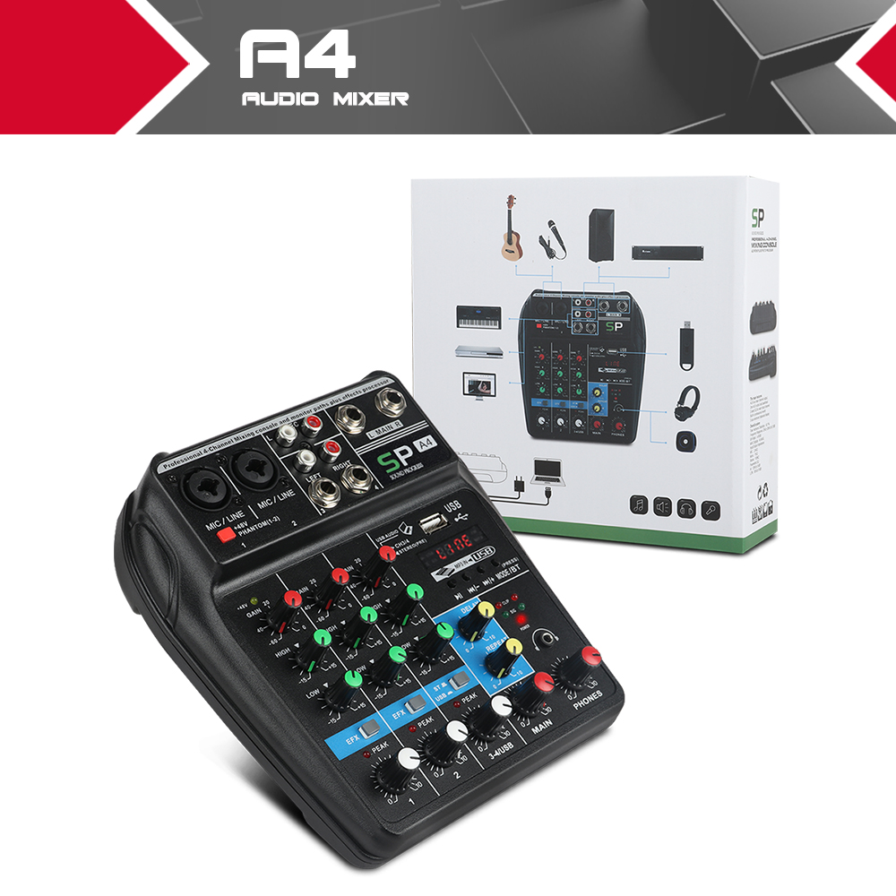 A4 4Channels Audio Mixer Sound Mixing Console with Bluetooth USB Record 48V Phantom Power Monitor Paths