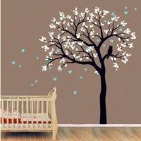 תינוק ילדי מדבקות הקיר ויניל מדבקת עץ גדול ינשופים על עץ עם ציורי עץ מדבקות קיר לילדים חדר שינה קיר כוכב DecorY-935