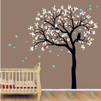 Kids Baby Large Tree Wall Decal Vinyl Sticker Owls On The Tree With Star Wall Murals Tree Wall Decal For Kids Bedroom DecorY-935