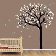 Kids Baby Large Tree Wall Decal Vinyl Sticker Owls On The With Star Sticke For Bedroom DecorY-935