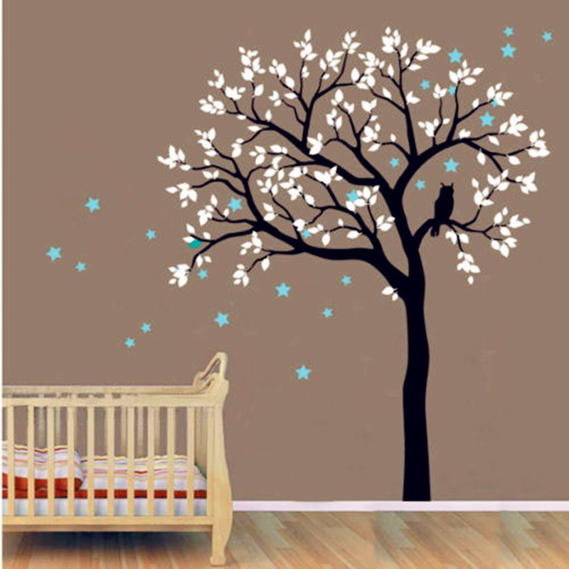 Kids Baby Large Tree Wall Decal Vinyl Sticker Owls On The Tree With Star Wall Murals Tree Wall Decal For Kids Bedroom DecorY 935