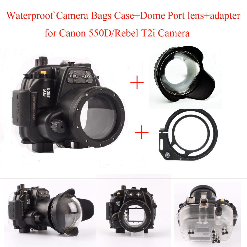 Meikon Underwater Camera Housing Case for Canon 550D/Rebel T2i Camera,Waterproof Camera Bags Case + Dome Port lens + adapter meikon 40m wp dc44 waterproof underwater housing case 40m 130ft for canon g1x camera 18 as wp dc44