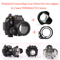Meikon Underwater Camera Housing Case for Canon 550D/Rebel T2i Camera,Waterproof Camera Bags Case + Dome Port lens + adapter