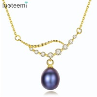 LUOTEEMI Brand Real 925 Sterling Silver Necklace For Women Nature Oval Freshwater Pearl Pendant Necklaces Free Shipping Jewelry