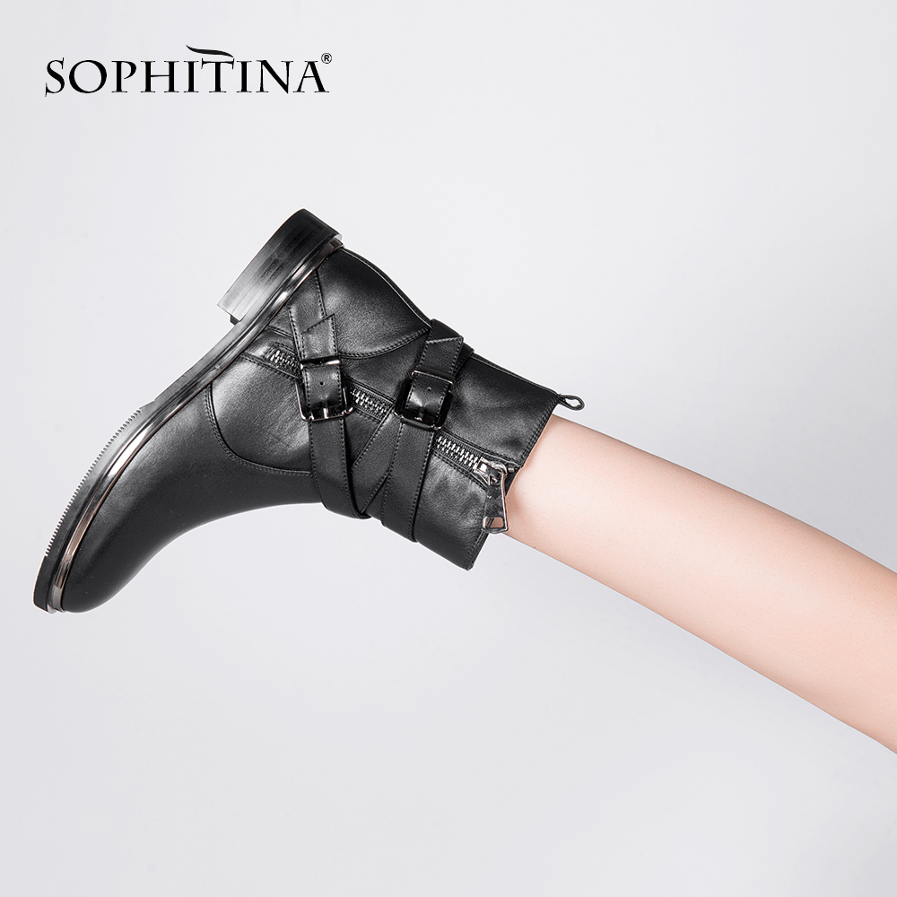 SOPHITINA Nouveau Top Qualité Cheville Bottes À La Main Boucle Strap Zipper Femme Chaussures En Cuir Véritable Élégant Bout Rond Lady Bottes M21
