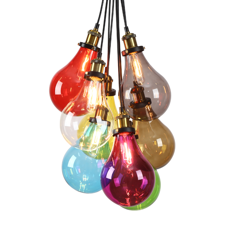 2017 Creative design Modern colorful glass pendant lights lamps for dining room living room bar E27 Edison bulb glass lights creative design modern led colorful glass pendant lights lamps for dining room living room bar led g4 85 265v bubble glass light