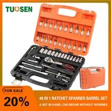 цена на TUOSEN 46PCS in 1 mechanic hand ratchet tool sets auto socket wrench tools set mini repair professional gereedschap kit for car