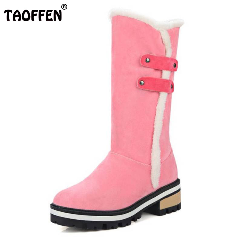 TAOFFEN Size 33-43 4 Colors Women Half Short Boots Thick Fur Snow Boots High Heel Boots Warm Winter Shoes For Women Footwears