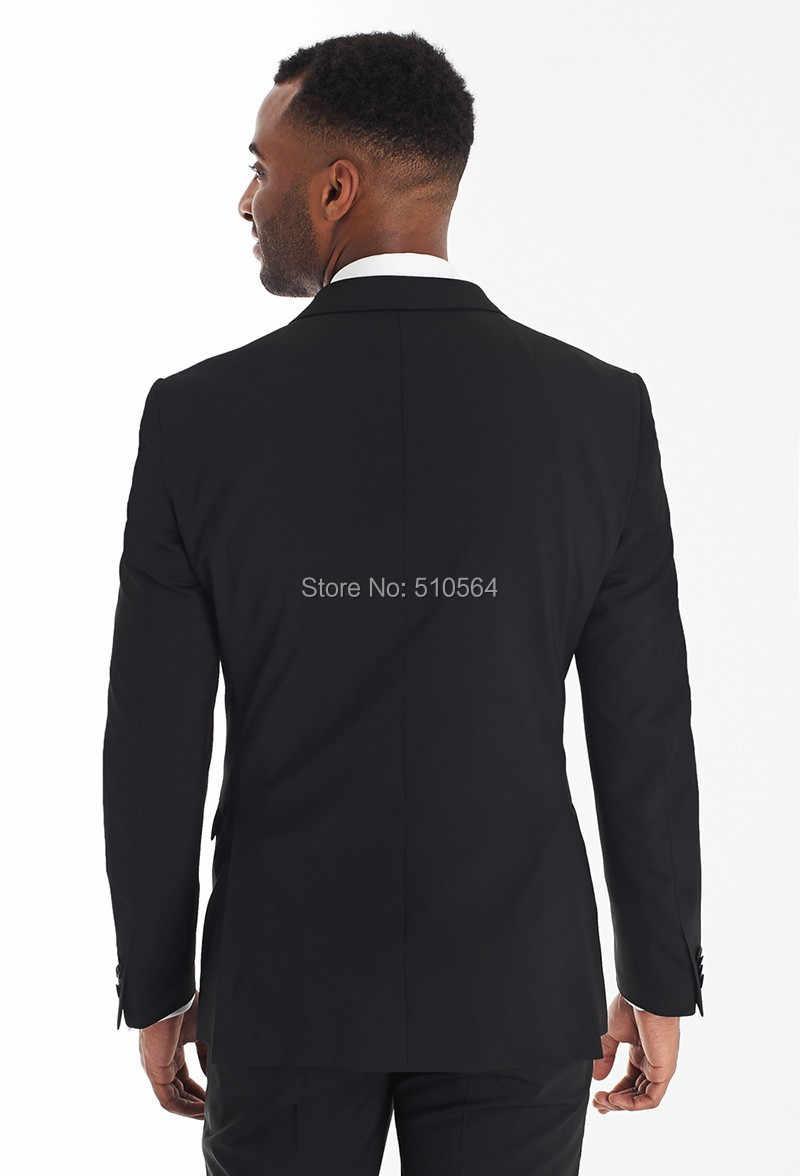 ブラック二つのボタンピークラペル新郎タキシード花婿の付添人のウェディングスーツ(ジャケット+パンツ+ネクタイ)