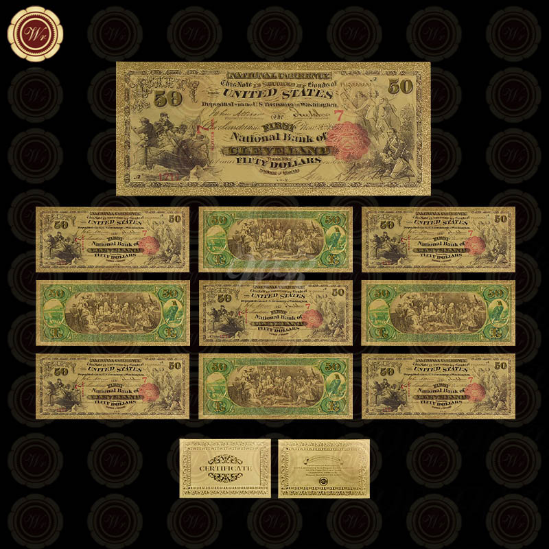 Free Shipping 10pcs Souvenir American World Currency Money Home Decor 1875 Year 50 Dollars Gold Banknote