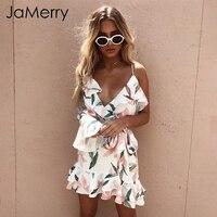 JaMerry Chic one shoulder strap sexy dress women Ruffles v neck floral print short dress Summer 2018 boho beach dress vestidos