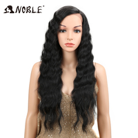Noble 28 Inches Deep Wave Lace Front Wigs For Black Women Side Part Burgundy Orange Ombre Wig Heat Resistant Synthetic Hair Wigs