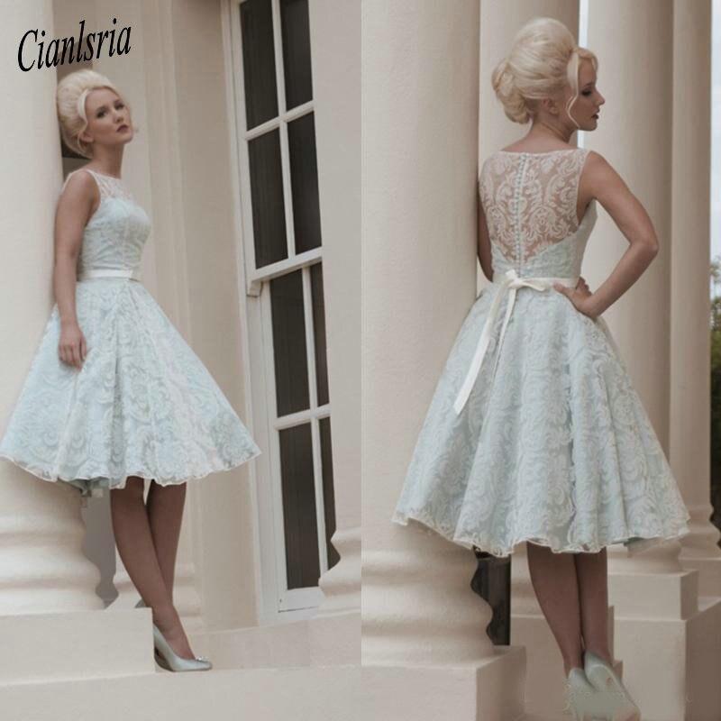 Custom Made White Vintage Lace Wedding Dress Knee Length Wedding
