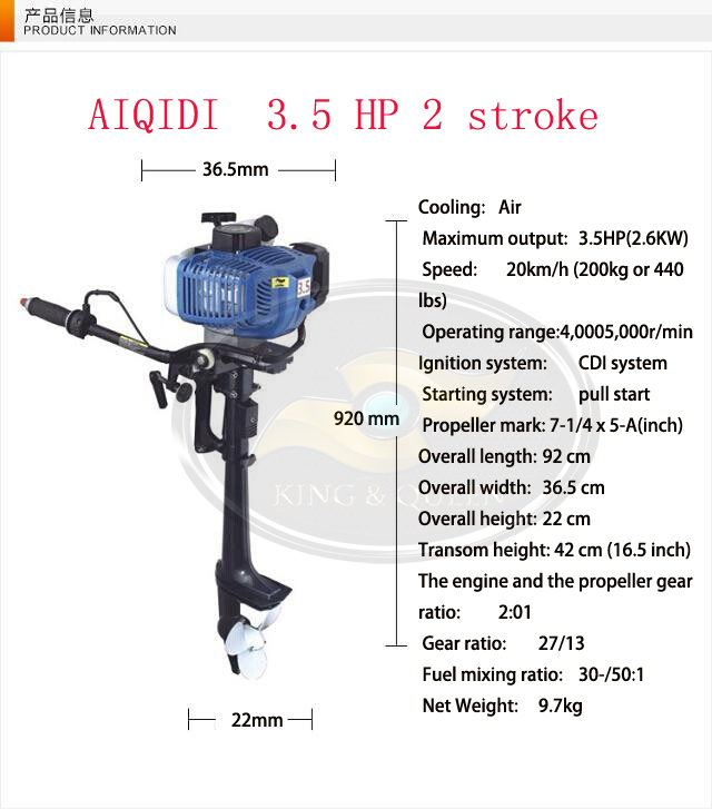Hot sell whole sale popular 2 stroke 3 5hp aiqidi small for What is the best outboard motor