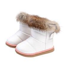 35a90896a MUQGEW algodón invierno bebés niños niñas zapatos de cuero Martin botas  calientes conejo botas gruesas de nieve